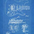 1956 Fender Stratocaster Guitar Invention Patent Art, Blueprint by Steve Chambers