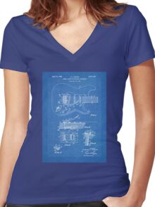 1956 Fender Stratocaster Guitar Invention Patent Art, Blueprint Women's Fitted V-Neck T-Shirt