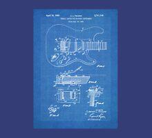 1956 Fender Stratocaster Guitar Invention Patent Art, Blueprint Unisex T-Shirt