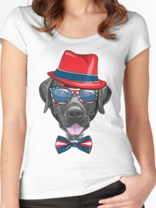 Smiling black hipster dog Labrador Retriever  Women's Fitted Scoop T-Shirt