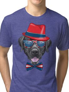 Smiling black hipster dog Labrador Retriever  Tri-blend T-Shirt