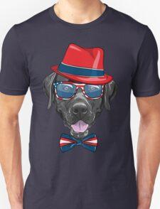 Smiling black hipster dog Labrador Retriever  Unisex T-Shirt