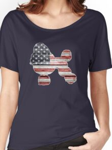 Patriotic Poodle, American Flag Women's Relaxed Fit T-Shirt