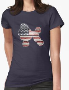Patriotic Poodle, American Flag Womens Fitted T-Shirt