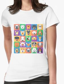 Dogs flat design  Womens Fitted T-Shirt