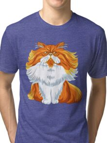 Cute red fluffy Persian cat  Tri-blend T-Shirt