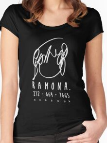 ♥♥♥ SCOTT PILGRIM RAMONA FLOWERS - DO YOU KNOW THIS ONE GIRL WITH HAIR LIKE THIS? VER2 WHITE ♥♥♥ Women's Fitted Scoop T-Shirt