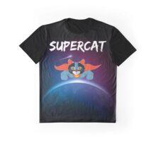 Super Cat flying through Galaxy Space print leggings super hero Graphic Tee Graphic T-Shirt
