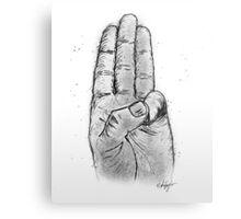 Hand Sketched Three Finger Salute (Black) Metal Print