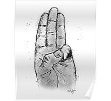 Hand Sketched Three Finger Salute (Black) Poster