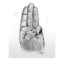 Hand Sketched Three Finger Salute (Black) Photographic Print