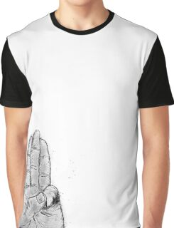 Hand Sketched Three Finger Salute (Black) Graphic T-Shirt