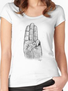 Hand Sketched Three Finger Salute (Black) Women's Fitted Scoop T-Shirt