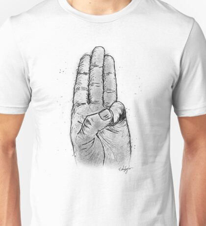 Hand Sketched Three Finger Salute (Black) Unisex T-Shirt