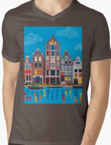 Amsterdam canal and houses Mens V-Neck T-Shirt