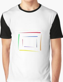 Concentric Square Rainbow Graphic T-Shirt