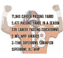 Peyton Manning Statistics Retirement Photographic Print