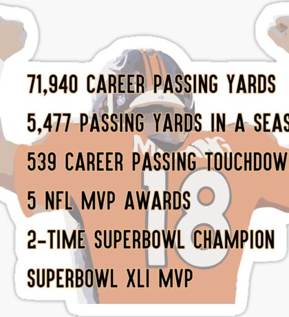 Peyton Manning Statistics Retirement Sticker