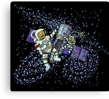 Spaceman and space cat Canvas Print