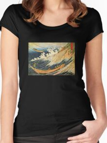 'Ocean Landscape 2' by Katsushika Hokusai (Reproduction) Women's Fitted Scoop T-Shirt