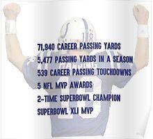 Peyton Manning Statistics Retirement Colts Poster