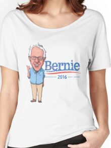 Bernie Sanders Cartoon Vintage Burnout Graphic Democratic Socialism Funny Feel The Bern Women's Relaxed Fit T-Shirt