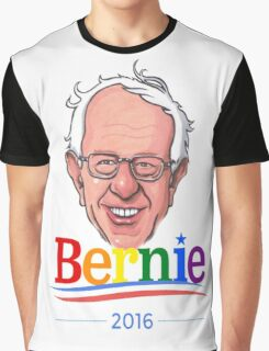 Bernie Sanders Gay Pride LGBTQ Presidential Race '16 Cartoon Feel The Bern Democrat Rainbow Graphic T-Shirt