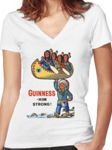 GUINNESS HIM STRONG VINTAGE ART Women's Fitted V-Neck T-Shirt