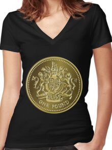 British money gold coin one pound Women's Fitted V-Neck T-Shirt