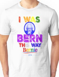 Bernie Sanders LGBT Gay Pride I Was Bern This Way Lady Gaga Rainbow Distressed Vintage Burnout Unisex T-Shirt