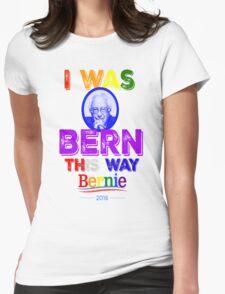 Bernie Sanders LGBT Gay Pride I Was Bern This Way Lady Gaga Rainbow Distressed Vintage Burnout Womens Fitted T-Shirt