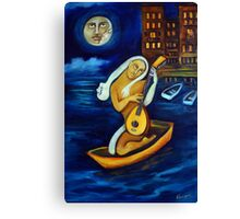 Moon, Lovers, Lute Canvas Print