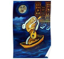 Moon, Lovers, Lute Poster