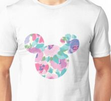 Pink Floral Mickey Head Unisex T-Shirt