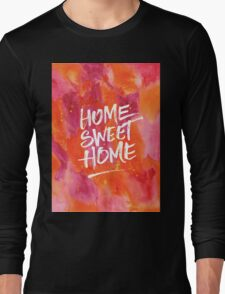 Home Sweet Home Handpainted Abstract Watercolor Orange Pink Yellow Long Sleeve T-Shirt