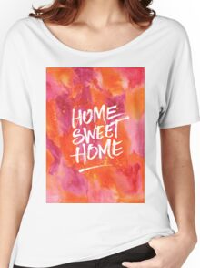 Home Sweet Home Handpainted Abstract Watercolor Orange Pink Yellow Women's Relaxed Fit T-Shirt
