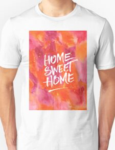 Home Sweet Home Handpainted Abstract Watercolor Orange Pink Yellow T-Shirt