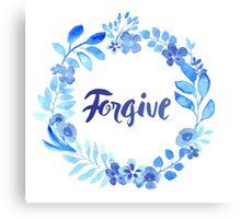 Forgive Watercolor Brush Lettering Blue Canvas Print