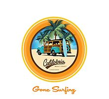 Woody Gone Surfing California Photographic Print
