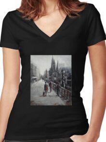 Princes Bridge Melbourne (Australia) Women's Fitted V-Neck T-Shirt