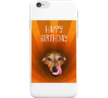 Happy birthday, Mixed breed dog licking lips, sunburst, humor. iPhone Case/Skin