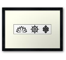 Lotus Flower, Dharma Wheel, and Endless Knot Framed Print