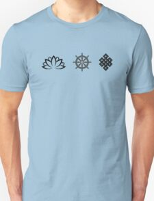 Lotus Flower, Dharma Wheel, and Endless Knot Unisex T-Shirt