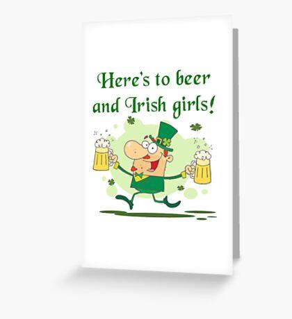 Leprechaun Irish Girls and Beer Greeting Card