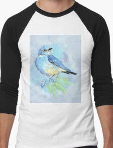 Watercolor Bluebird Blue Bird Art Men's Baseball ¾ T-Shirt