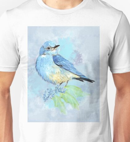 Watercolor Bluebird Blue Bird Art Unisex T-Shirt