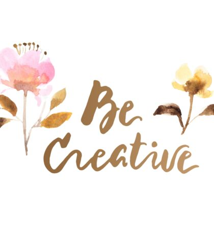 Be Creative Watercolor Brush Lettering Flowers Sticker