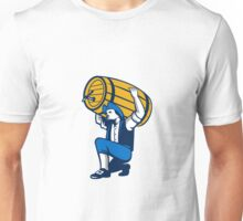 American Patriot Lifting Beer Keg Isolated Retro Unisex T-Shirt