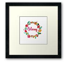 Bloom Watercolor Brush Lettering Flowers Framed Print