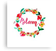 Bloom Watercolor Brush Lettering Flowers Canvas Print